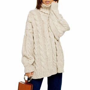 Topshop Chunky Cable Knit Turtleneck Sweater 12